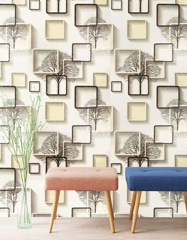 Eurotex Geomatric Peel And Stick Wallpaper Self Adhesive Removable Wall Covering Use As Wall Paper Contract Or Shelf Paper Pvc Size 45cm X 10mtr Roll 48 Sqft Peach Color Eurotex